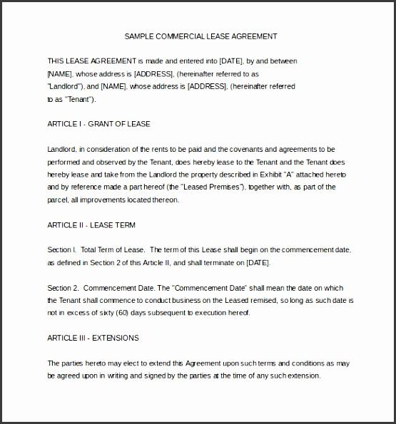 sample mercial rental agreement template word file