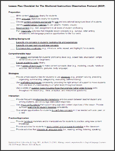 here is a helpful siop lesson plan checklist