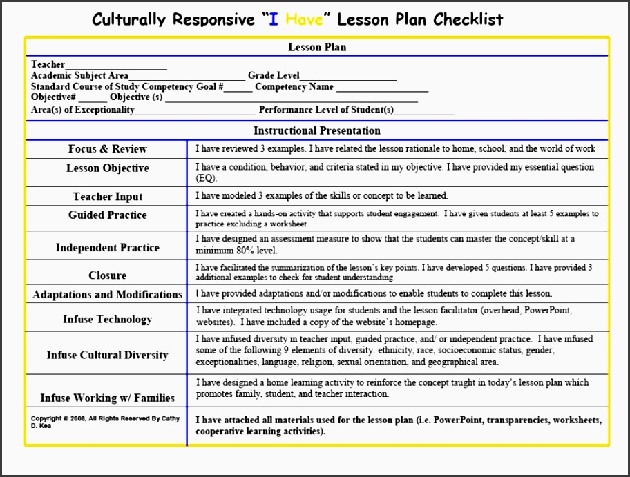 34 lesson plan checklist