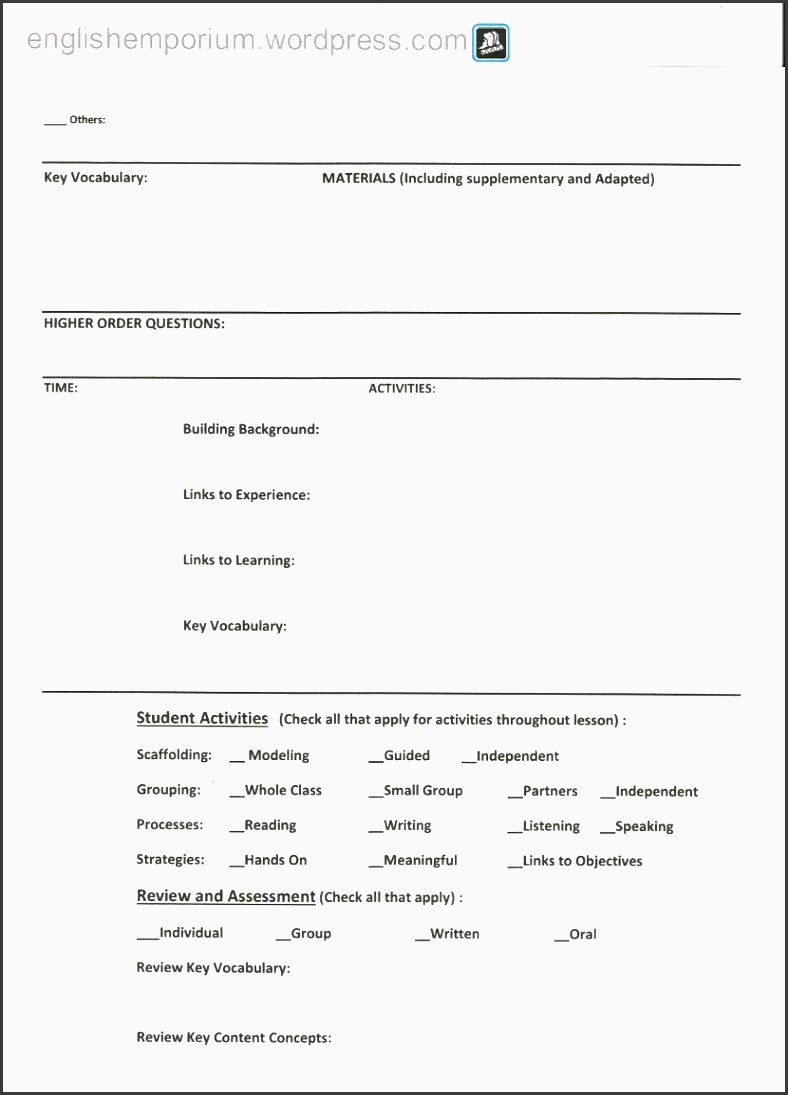 siop lesson plan checklist for 7th grade geography page2 charlotte danielson template charlotte danielson lesson