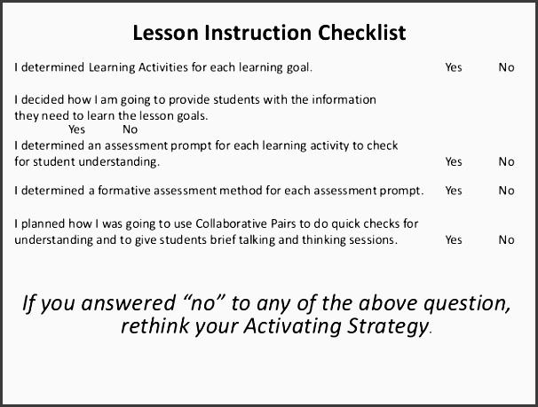 lesson instruction checklist