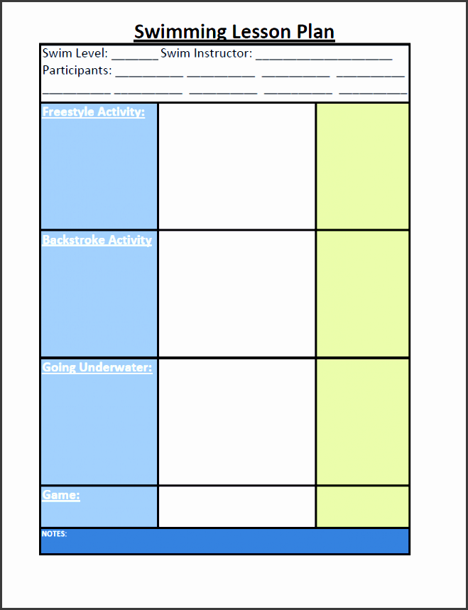 swim lesson template