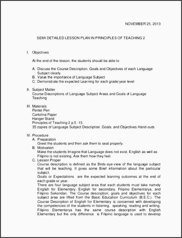 sample of semi detailed lesson plan