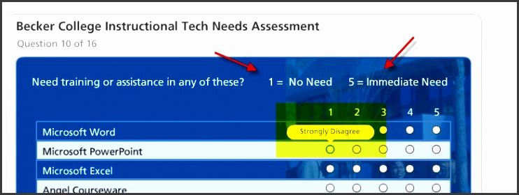 i ve set my scale up for 1 no need to 5 immediate need what i haven t been able to do is find the scale button to open the likert scale labels dialog