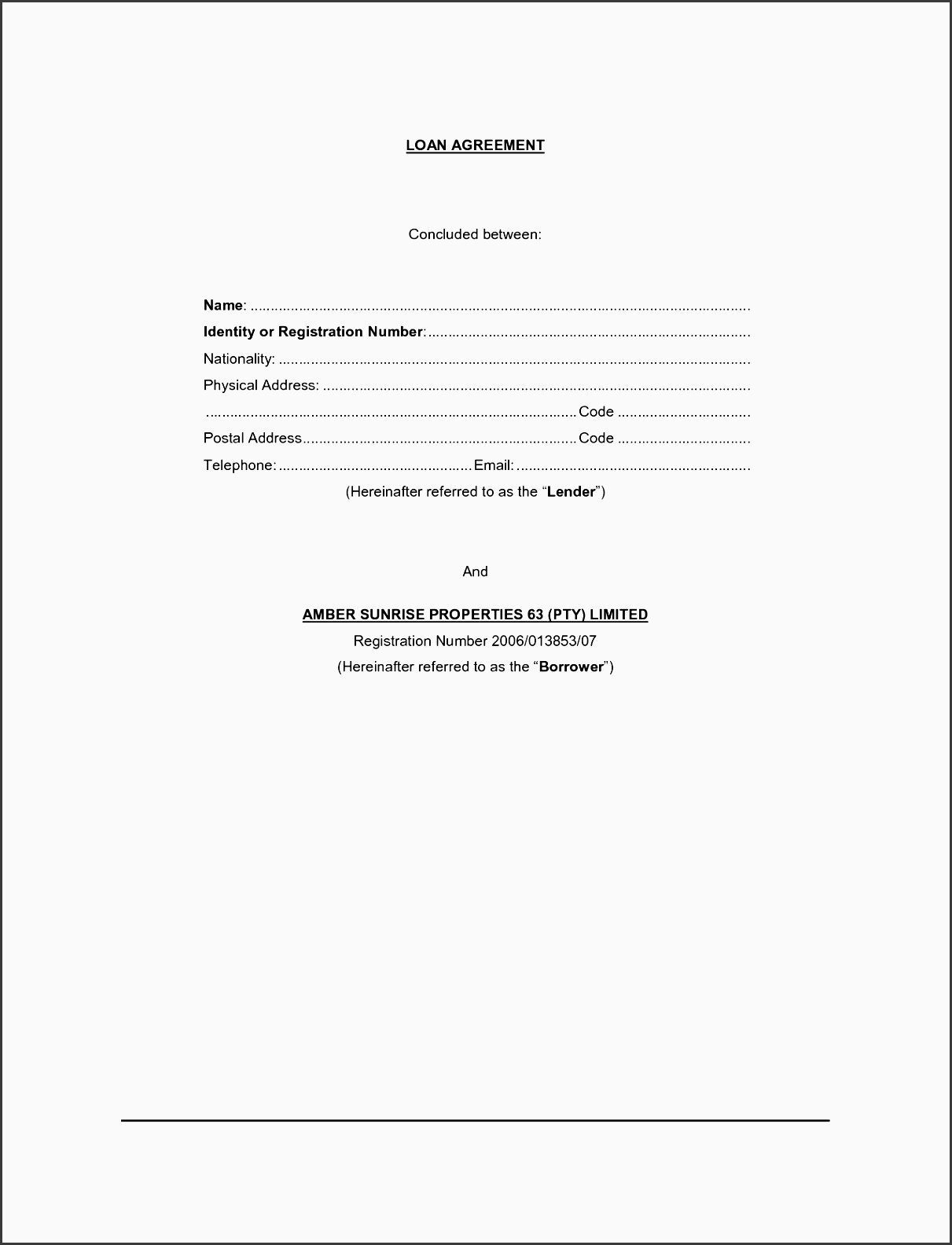 free simple loan agreement form