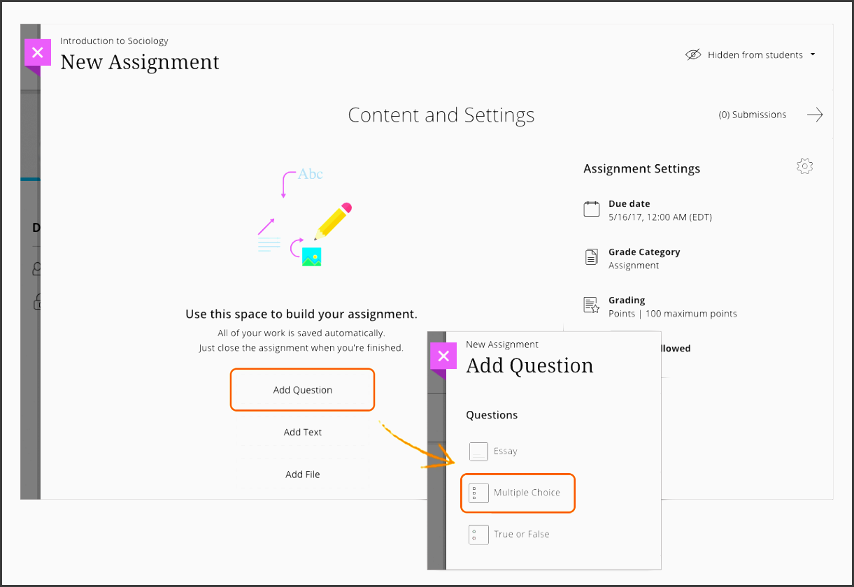 the content settings area opens where you type the question and answer choices if required such as for multiple choice questions