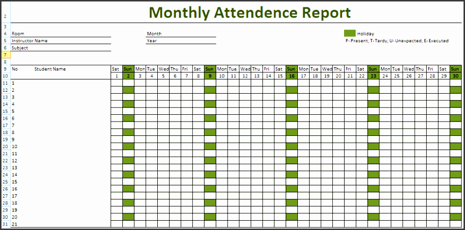 attendance sheet excel for employees 2018 free printable