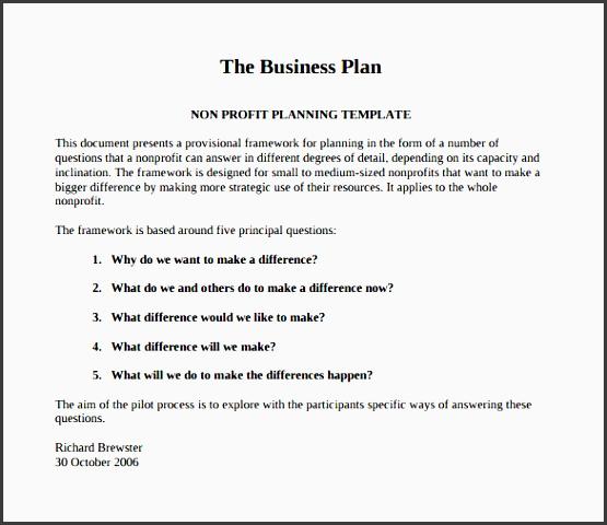 the business plan nonprofit pilot template pdf free