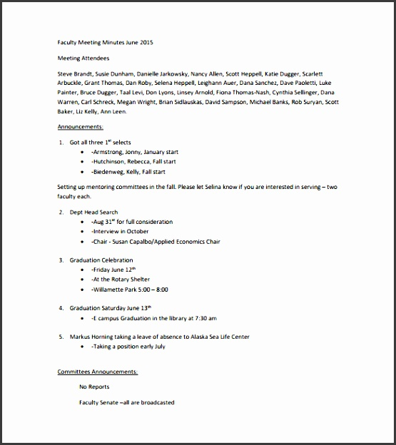 faculty meeting note free pdf template