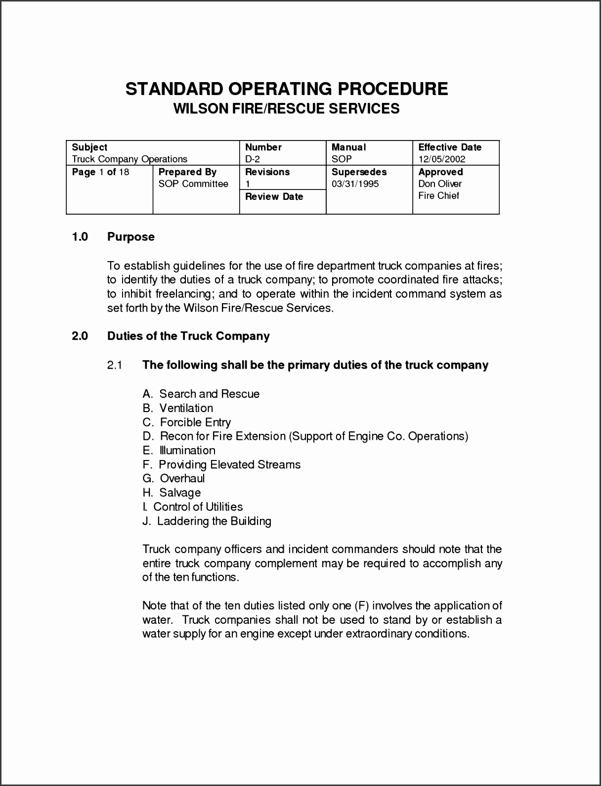 standard operating procedures template free