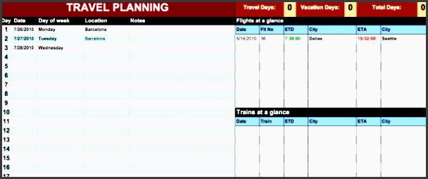 travel itinerary planner and organizer read more googledocs17