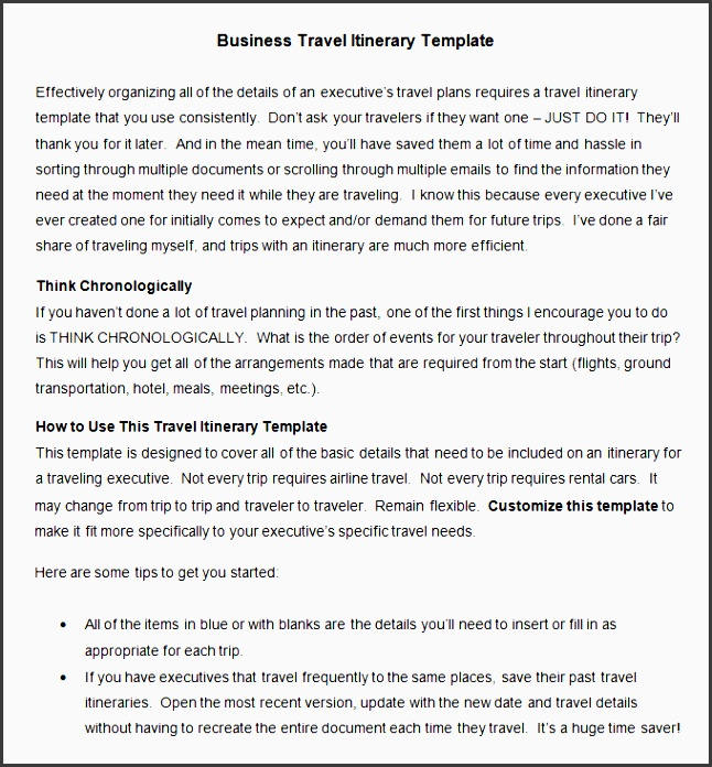 all things admin travel itinerary template free
