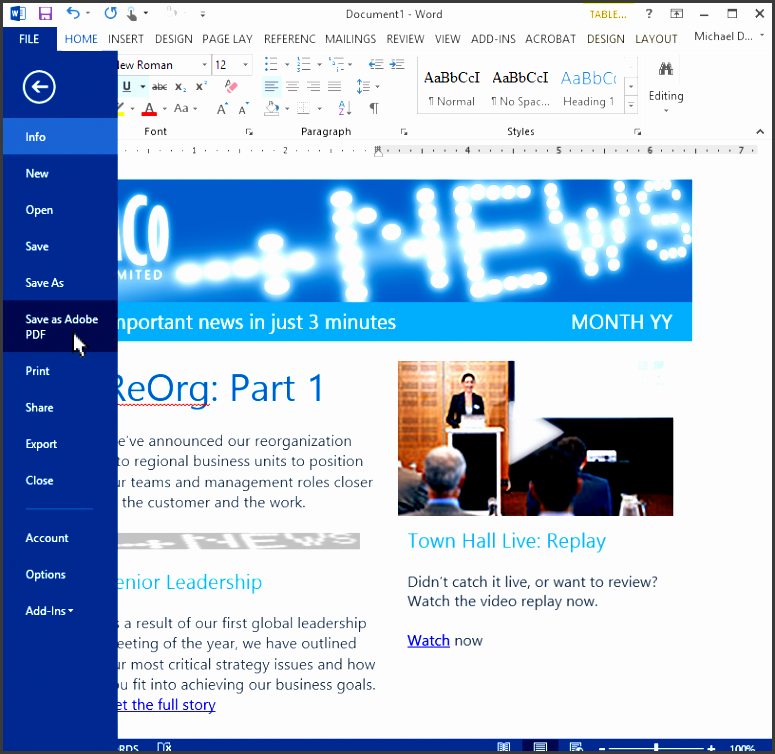 copy outlook email templates to word and create pdf files