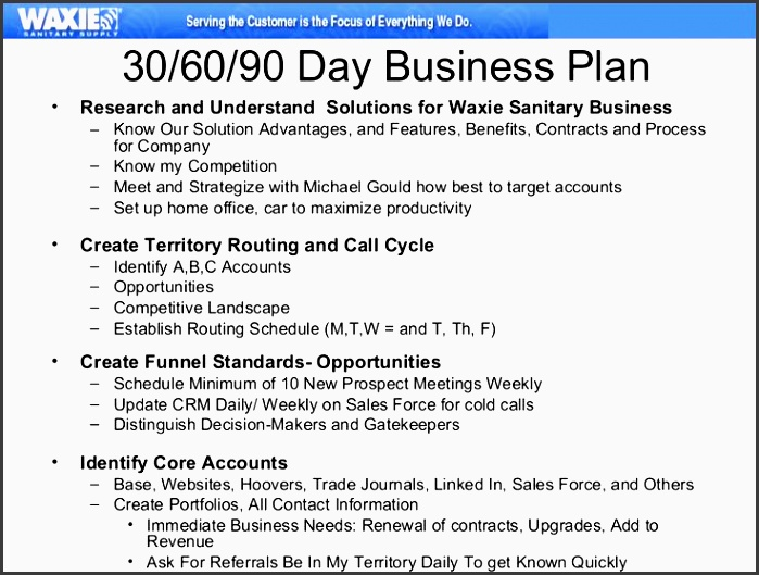 formulate a 30 60 90 day plan