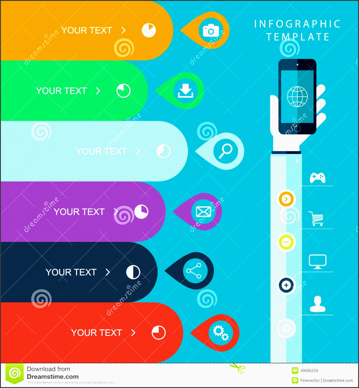 info graphic template with hand holding phones for marketing plan sales chart illustration work flow layout diagram