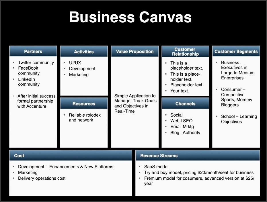 the image illustrates the business canvas and is part of the investor presentation template