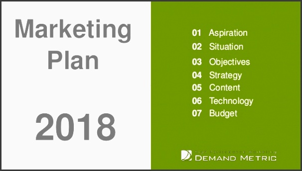 marketing plan presentation template 2018 01 aspiration 02 situation 03 objectives 04 strategy 05 content 06 technology 07 bud 2018 marketing