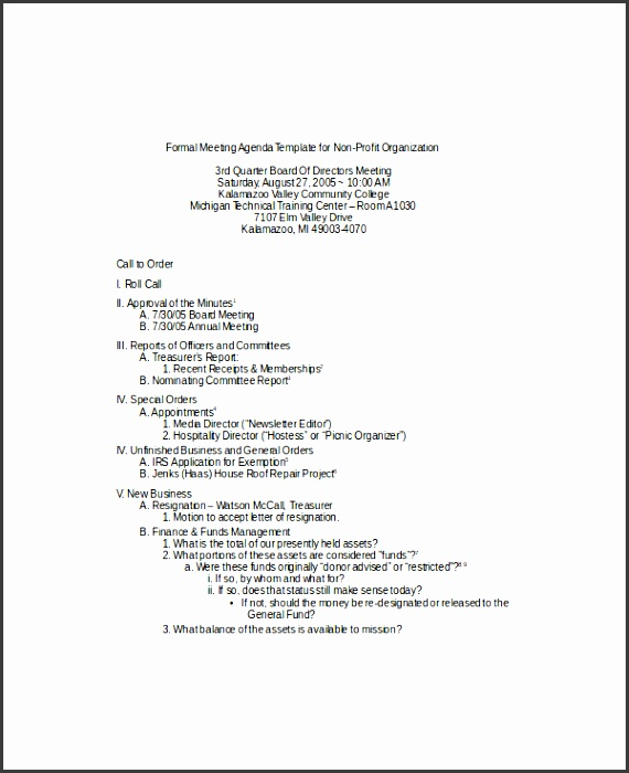 Formal Meeting Agenda Template For Non Profit Organization Sample  Format For An Agenda