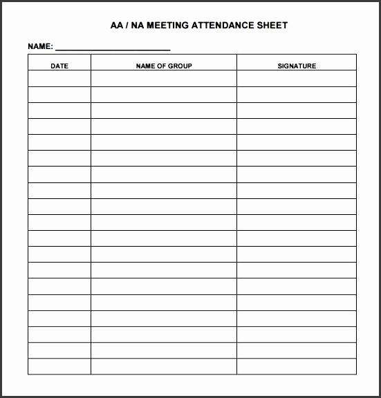 16meeting attendance sheet template