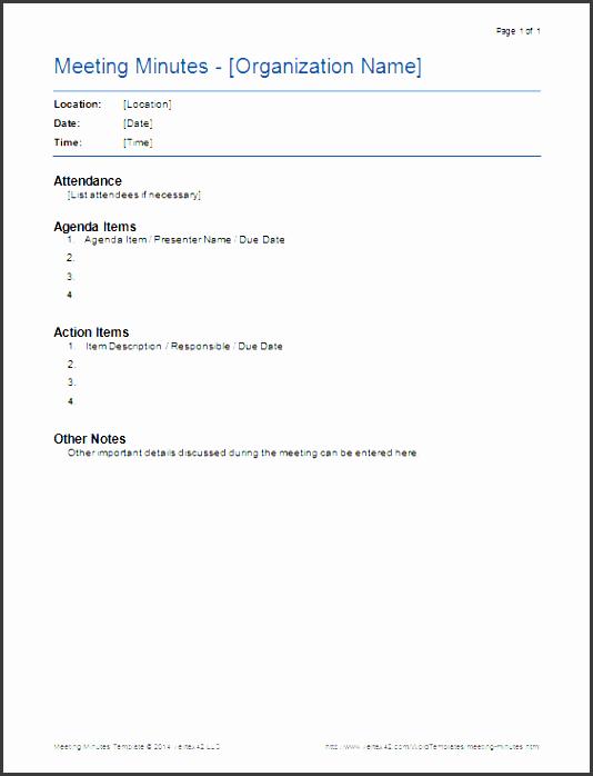 meeting minutes template screenshot