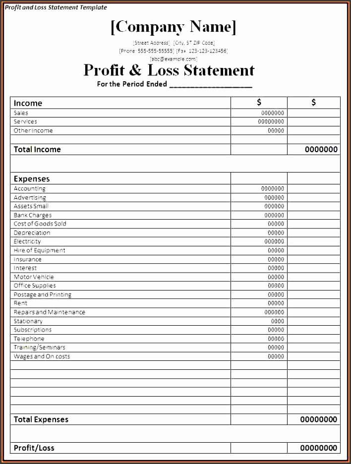 4 monthly profit and loss statement template