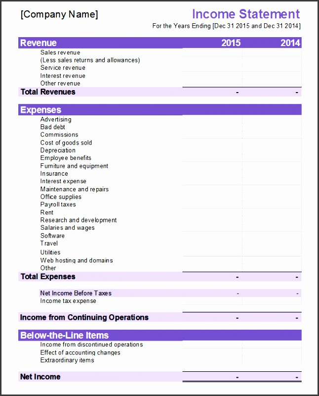 business financial statement template excel financial statement template 20 free pdf excel word documents free