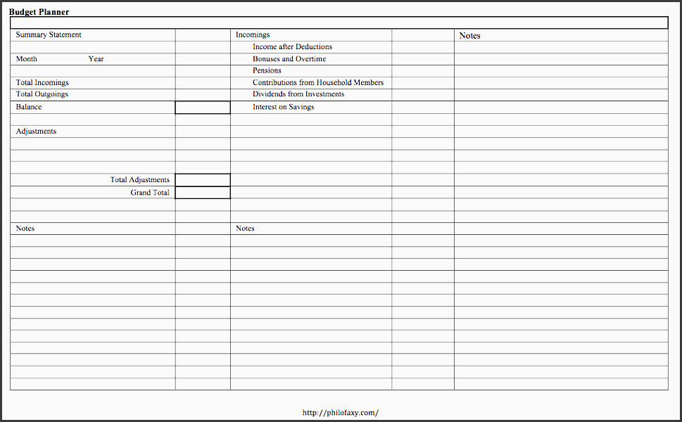 bud planner templates
