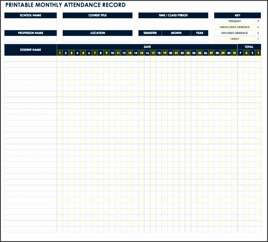 this monthly template supplies a grid layout for tracking attendance and adding daily totals for each student as well as for the classroom as a whole