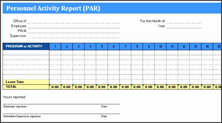 personal activity report par