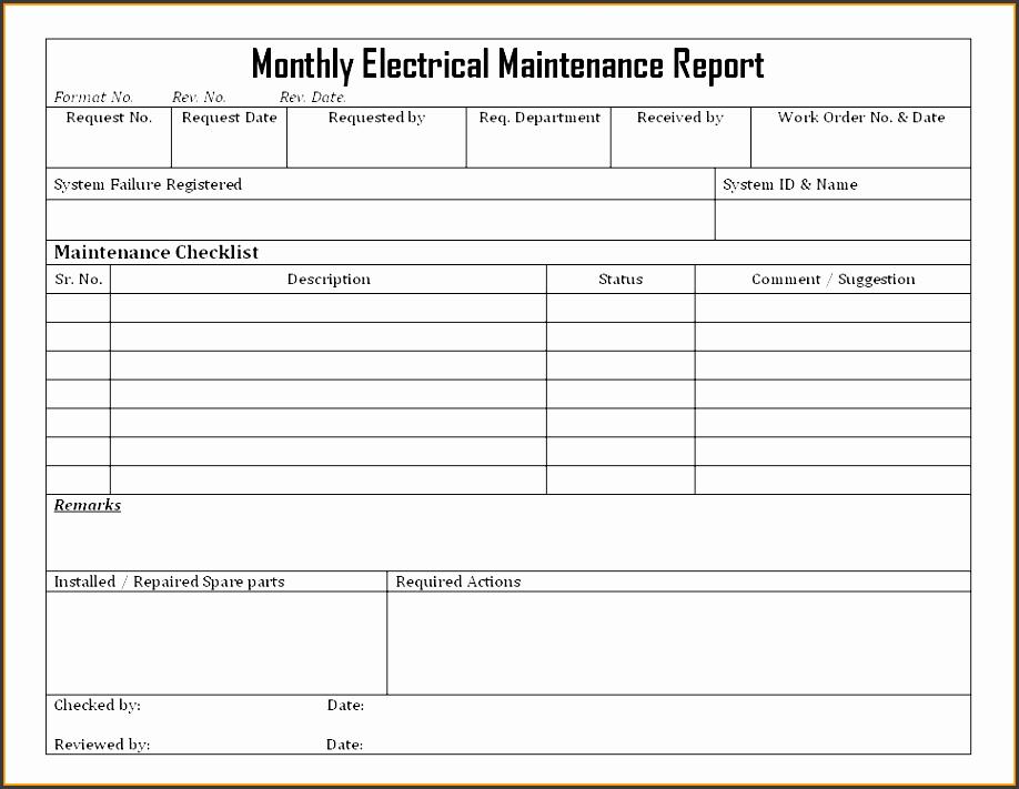 10 maintenance report workout spreadsheet