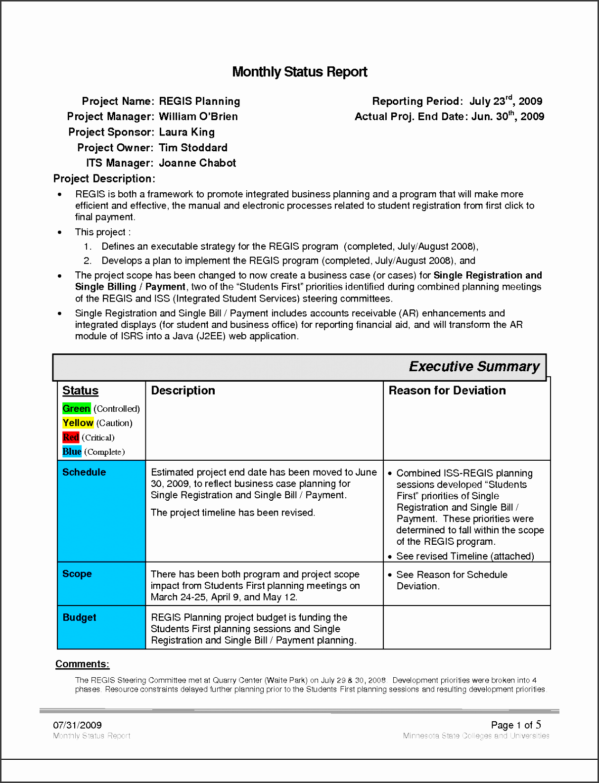 our author has been published business monthly status report template