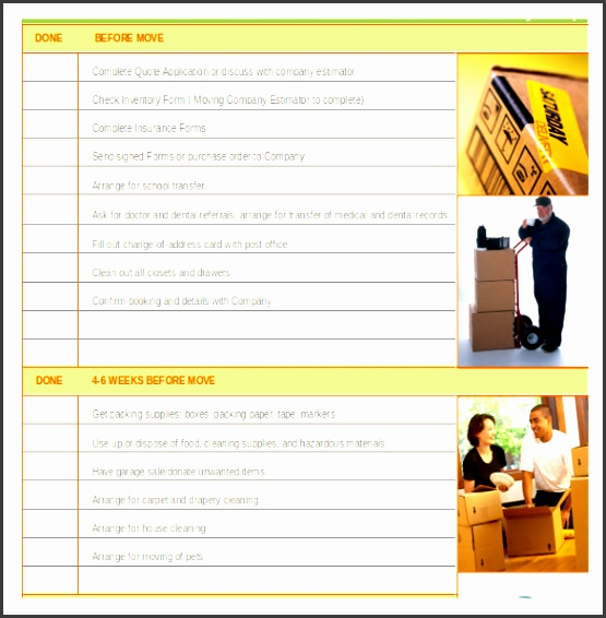 moving checklist for basic move inventory