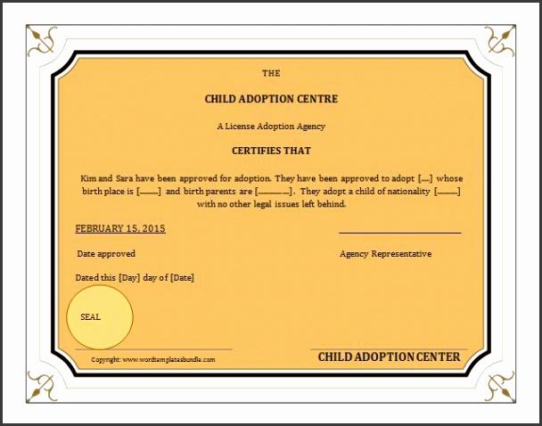 adoption certificate templates ms word adoption birth certificate template formal word templates ideas