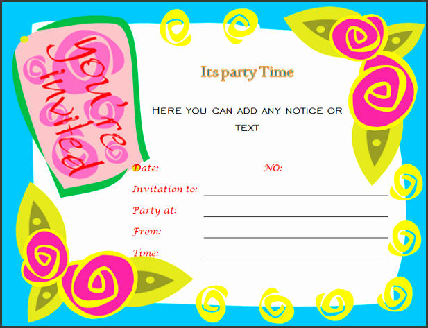 word birthday party invitation template birthday party invitation template word marialonghi template
