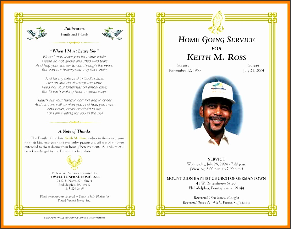 9 free funeral program templates microsoft word hostess resume in free funeral program template