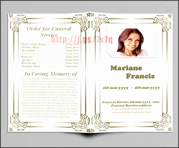 fill in memorial funeral program template the inside page is s