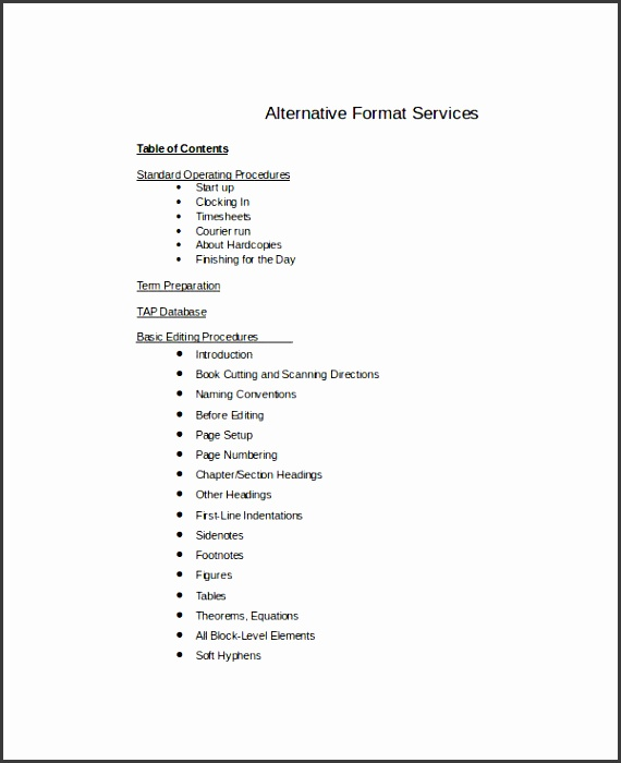 sample table of contents template in word