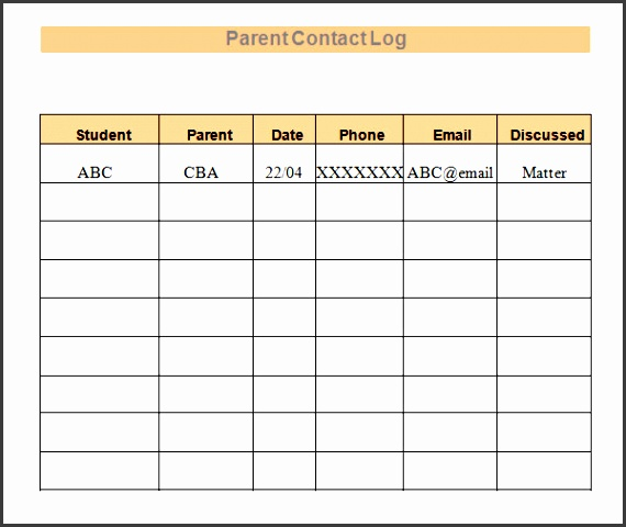 parent call log template for teachers