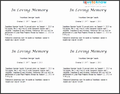 how to write an obituary template