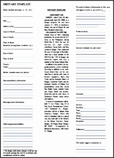 obituary template pdf rtf word