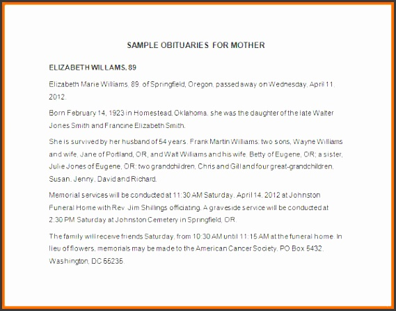 obituary templates obituary template for mother in word