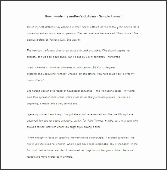 obituary template for mother 7 free word excel pdf format within sample
