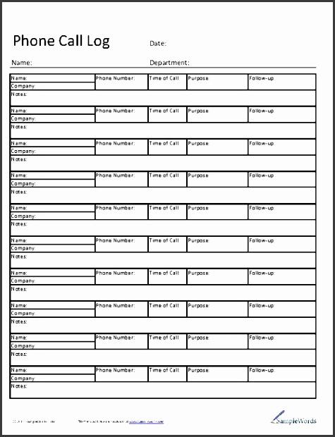 7 office phone log template