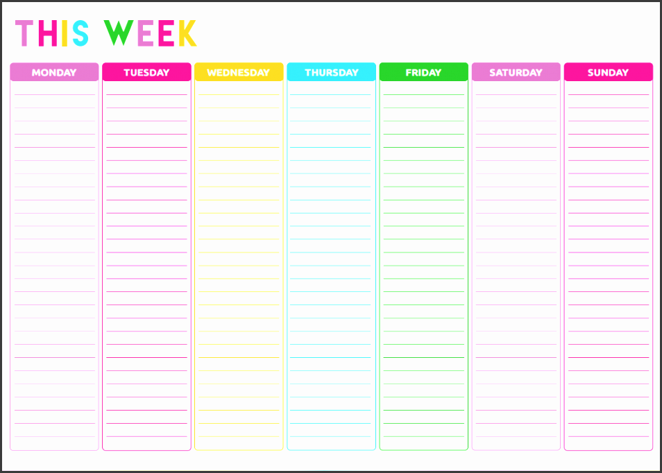 weekly to do list colorful template