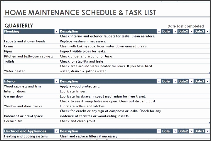 home maintenance schedule and task list template