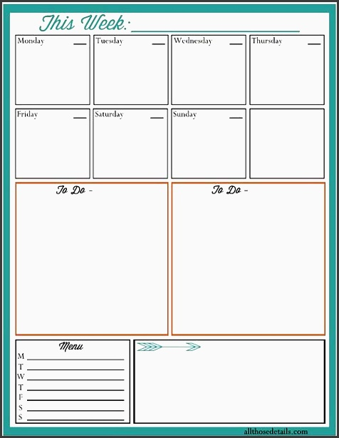 a free weekly planner printable schedule to dos menu and notes all on one page
