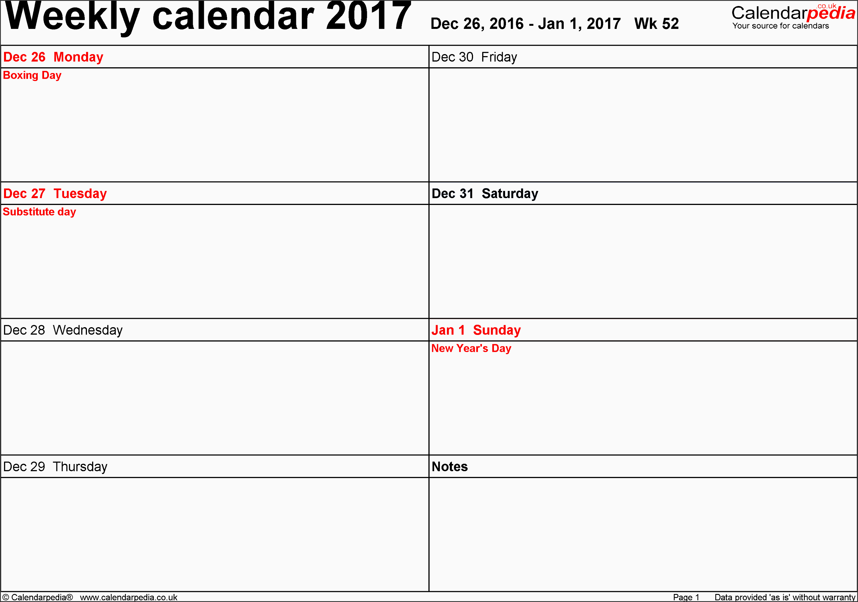 word template 6 weekly calendar 2017 landscape orientation days horizontally 53 pages