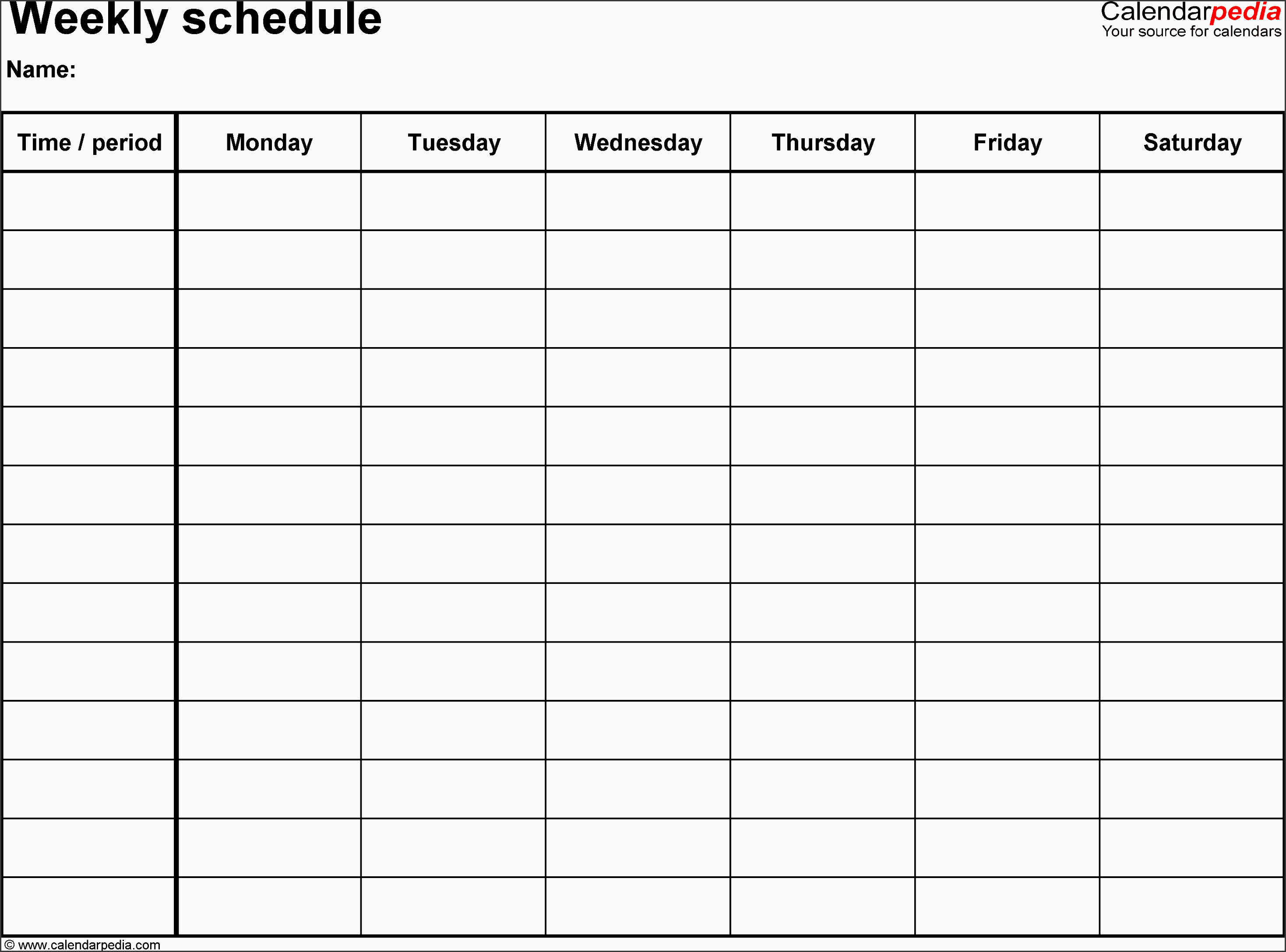 weekly schedule template for word version 8 landscape 1 page monday to saturday