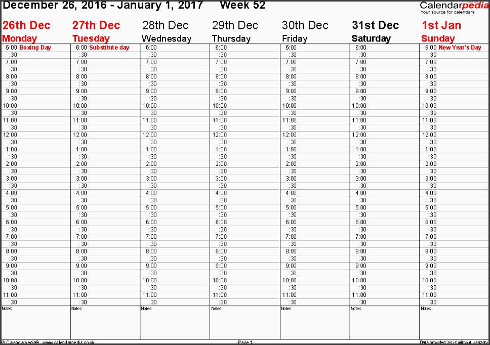 word template 2 weekly calendar 2017 landscape orientation 53 pages 1 calendar