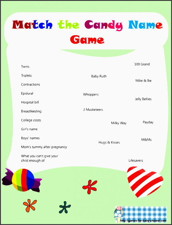 baby shower match the candy name game printable green